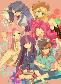 Tags: Fanart, Pixiv, My Little Pony, Twilight Sparkle, Applejack, My Little Pony: Friendship Is Magic, Pinkie Pie, Rainbow Dash, Rarity, Fluttershy, Fanart From Pixiv, Pixiv Id 2898567, Elements of Harmony