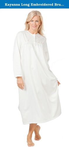 Kayanna Long Embroidered Brushed Satin Nightgown in Ivory (Small (6-8), Ivory). Brushed Back Satin Nightgown - This ballet nightgown comes in Ivory with lovely tonal and pink embroidery along the bodice. Indulge in the cozy softness of this luxurious brushed back satin nightgown from KayAnna.