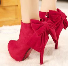 Hot 2014 Autumn & Winter Fashion Women Pumps Lovely Bowtie Red Boots Thin Heels High-Heeled Shoes Bridal Wedding Shoes