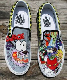 Courage the Cowardly Dog Vans! The characters were hand drawn onto plain white vans. How cool!