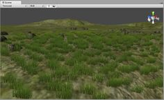 A Unity terrain with lots of grass and rocks - Using terrains in Unity brings you several advantages, one of which is the possibility to scatter trees and grass or other foliage over the terrain with a paint brush, rather than positioning foliage models by hand. You can, in fact, add thousands of grass billboards by painting the terrain, and these will be drawn using only very few draw calls.