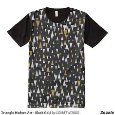 Triangle Modern Art - Black Gold All-Over-Print T-Shirt - Visually Stunning Graphic T-Shirts By Talented Fashion Designers - #shirts #tshirts #print #mensfashion #apparel #shopping #bargain #sale #outfit #stylish #cool #graphicdesign #trendy #fashion #design #fashiondesign #designer #fashiondesigner #style