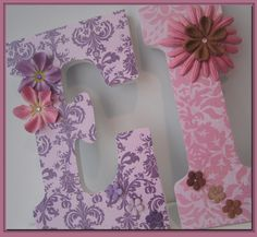 Girls Nursery Letters. Nursery decor. Name letters. Flowers. Pink. Nursery. Baby. Purple. Butterfly. Damask.. $12.50, via Etsy.