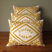 Image of Custard Cream Screen Printed Cushion nikki mcwilliam, custardcream, screen print, custards, cream cushion, cushions, throw pillows, custard cream, biscuit