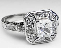 Engagement Ring - Vintage Pave Halo Square Radiant Diamond Engagement Ring 0.36 tcw. In 14K White Gold - ES543