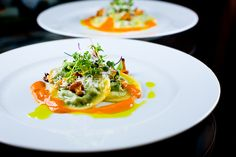 Five-Herb Ravioli with Chanterelles, Roasted Tomato Coulis and Basil Oil {recipe}