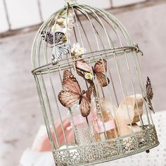 Decoration cage made of metal, D: 25 x H: gray-green, gray-green - adventskranz ideen Diy Bird Cage, Bird Cages, Shabby Chic Style, Shabby Chic Decor, Wedding Centerpieces, Wedding Decorations, Wedding Gift Card Box, Kitchen Ornaments, Home Decor Hacks