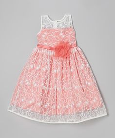 Loving this Kid's Dream Ivory & Coral Lace Babydoll Dress - Toddler & Girls on #zulily! #zulilyfinds