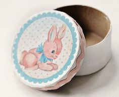 Pink Bunny small round container