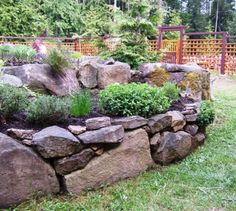I wish I had lots of rocks to make this raised bed herb garden in the back yard.
