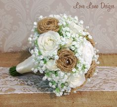 Hessian bouquet. Handmade hessian flower bridal wedding bouquet with handmade lace roses, including real touch white rose blooms and babys breath