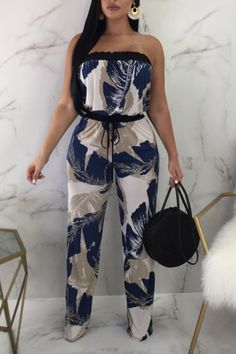 Shop Tropical Print Strapless Drawstring Waist Jumpsuit at victoriaswing, personal womens clothing online store! high quality, cheap and big discount, latest fashional style! Trend Fashion, Fashion Pants, Look Fashion, Fashion Dresses, Fashion Backpack, Womens Fashion, Fashion Tips, Classy Outfits, Stylish Outfits