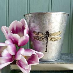 Golden Dragonfly Metal Planter Pot