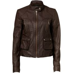 Miley Leather Jacket - Jeanswest ($150) ❤ liked on Polyvore featuring outerwear, jackets, coats, casacos, dresses, leather jackets, peacoat jacket, brown parka jacket, brown pea coat and 100 leather jacket