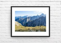 Dolomites Mountain Photo Print - Italy Photography - Italy Photo Print - Wall Decor - Travel Wall Art Mountains In Italy, Travel Wall Art, Mountain Photos, Wall Prints, Wall Decor, Colours, Frame, Photography, Beautiful