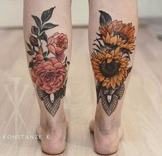 Matching floral tatto calves roses sunflowers
