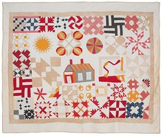 ".Unusual friendship sampler quilt, late 19th c., displaying various quilt patterns, 72"" x 89""."
