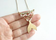 Siren Necklace  gold mermaid tail necklace mermaid by HoneyThistle