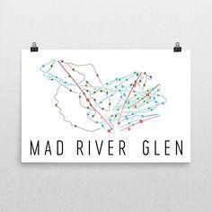 Mad River Glen Ski Map Art, Mad River Glen VT, Mad River Glen Trail Map, Mad River Glen Ski Resort Print, Mad River Glen Poster, Art, Gift