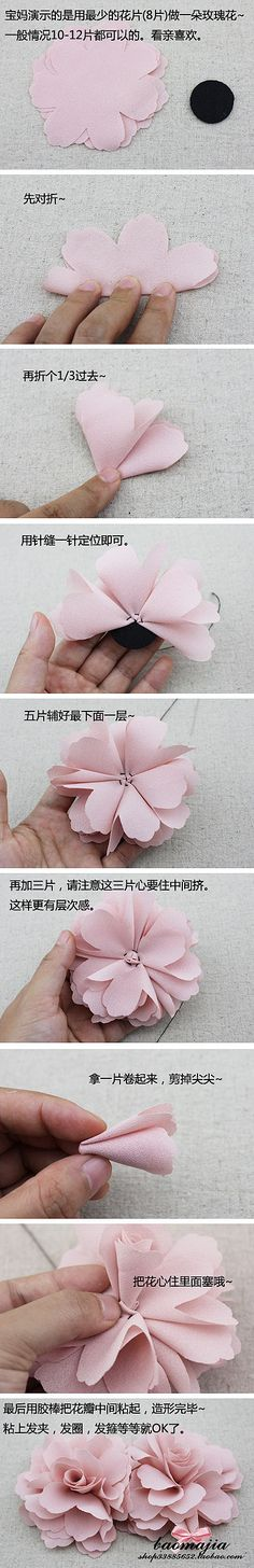 fabric flowers...cant read the directions but good pics