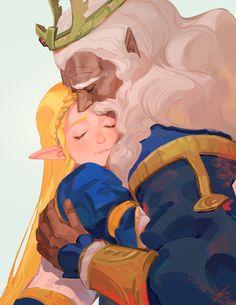 Legend of Zelda Breath of the Wild art > Princess Zelda and her Father - King Rhoam > botw The Legend Of Zelda, Legend Of Zelda Breath, Cry Anime, Film Anime, Anime Manga, Cover Design, Wind Waker, Kawaii, Ecchi