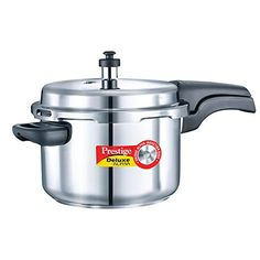 Prestige Alpha PRSDA4L Induction Base Stainless Steel Deluxe Pressure Cooker 4 LSmall Silver * Read more at the affiliate link Amazon.com on image.