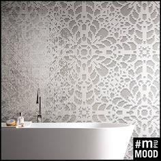 M+ Mood - A Tutto Pizzo #mosaicopiu #mosaic #mosaico #pizzo #lace #decor #doily #decoration #ikos #design #white #silver #glassmosaic #interiordesign #bathroom