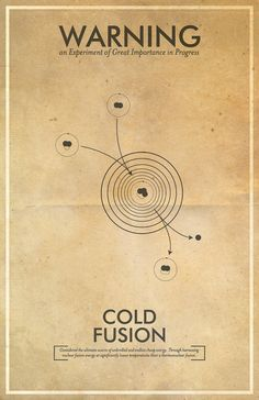 Cold Fusion Warning Poster // Fringe Science Illustration Poster // Vintage Science Fiction Wall Art