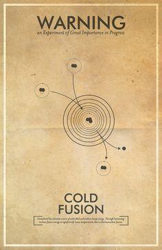 Cold Fusion Warning Poster // Fringe Science Illustration Poster // Vintage Science Fiction Wall Art