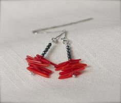 Sterling silver threader earrings with dark grey by ThePillowBook, $48.00