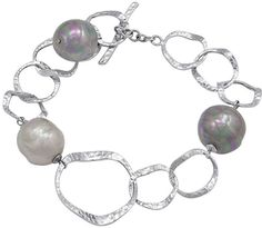 Majorica Pearl Bracelet, Sterling Silver Hammered Circles and Multicolor Organic Man Made Baroque Pearl