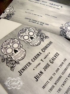 Day of the Dead Sugar Skull with Roses Wedding Invitation - Distressed in Gray/Black by citlali - Citlali Creativo - Custom Invitations - Seattle Burien, Washington - we ship internationally