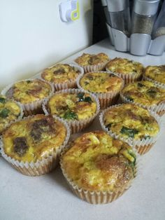 Gluten free, dairy free breakfast muffins. Includes bacon, homemade turkey sausage, spinach, bell peppers, onions and egg