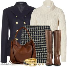 """""""Navy Brown & Off-White for Fall"""" by stylesbyjoey on Polyvore"""