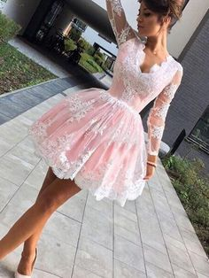 Cute A-line Long Sleeves Pink Short Homecoming Dress Party Dress