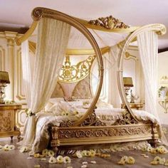 Breathtaking Luxury Royal Style Canopy Bed with Gold Frame with Unique Curved Design accentuated with Luxury beige Bed Curtains , Luxury Canopy Bed Application Equipped With Elegant Bed Curtain For Amazing Adult Bedroom Ideas In Bedroom Category