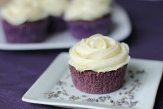 Lavender Cupcakes with Honey Frosting. Perfect for the dried lavender I just bought!!
