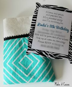 Make it Cozee: Pillow Case and Pillow Sleepover Invitations