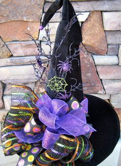 Witches Hat Tall Velvet Witch Hat by SprigsHolidayDecor on Etsy Halloween Witch Decorations, Halloween Witch Hat, Halloween Birthday, Halloween Projects, Holidays Halloween, Happy Halloween, Witch Hats, Halloween Wreaths, Scary Halloween