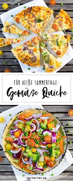 Bunte Gemüse-Quiche # Rezept - Food and drink - Vegetarisch Vegetable Quiche, Vegetable Recipes, Vegetarian Recipes, Healthy Recipes, Snack Recipes, Quiche Vegan, Colorful Vegetables, Quiche Recipes, Pizza Recipes