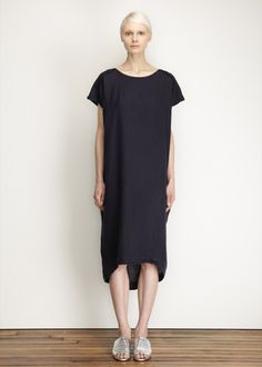 Black Crane Cocoon Dress (Navy)