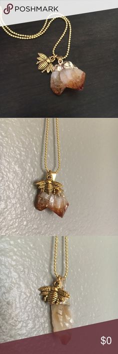 "✨BACK IN✨ Wild Honey Citrine & Bee Necklace Buzz and his ""Wild Honey"" are BACCCCKKKK! Genuine Citrine Quartz Crystal stone. ""Citrine is a joyful stone with bright energy which lights up many aspects of lives of those who work with it. It has energies of good fortune and good luck, though these may appear in unexpected ways. Citrine is well known in crystal work as a success and prosperity stone to the point that it is called the 'Success Stone.'"" Bee and chain are gold tone. Alloy free. Each…"
