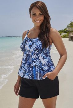 52c281ed16  Valentine s Day Sale!  EnvyWe  SwimsuitsForAll -  s4a Blue Floral Flared  Tankini
