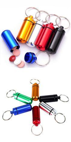 1pcs New High Quality Portable WaterProof Mini Multiple Colour Aluminum Keychain Tablet Storage Box Bottle Case Holder H0021