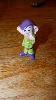 Disney Porcelain Figurine Ceramic Statue Made In Japan Dopey Snow White Dwarf