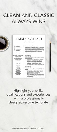 Resume template for Word, 1 \ 2 page resume, cover letter for Mac - classic resume design