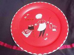 Stoyke BBQ Platter, Desingner Vintage 1950 serving tray platter, metal platter…