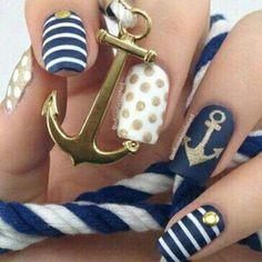 Navy summer nails
