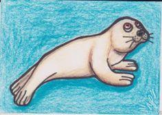 ACEO Original Baby Seal Collectible Artist Trading Card ATC 2.5 x 3.5