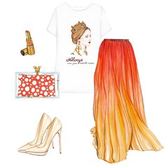 Printed t-shirt, long skirt, nude pumps, clutch and red lipstick